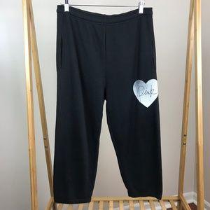 Pink • Black Sweatpants Logo Heart Size Small